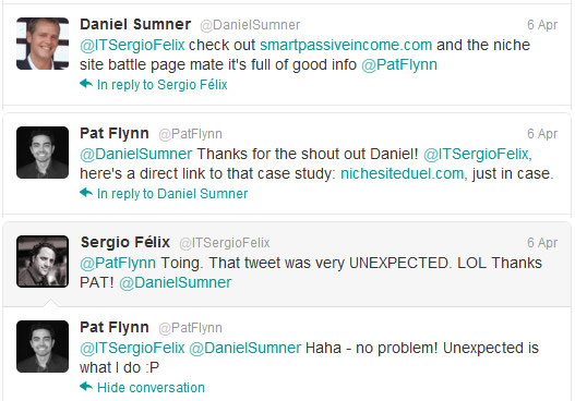 dan sumner and pat flynn twitter conversation