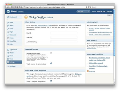 getclicky wordpress plugin